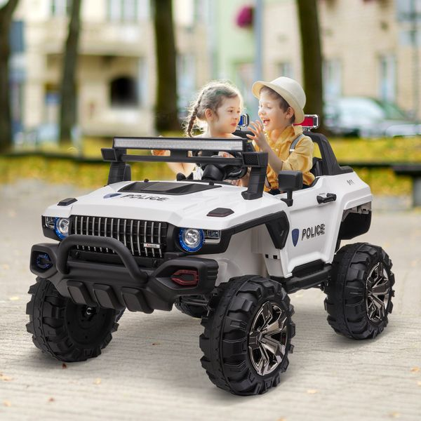 Aosom 12v Ride On Kids RC 2 Seater Ride On Car With Parental Remote Control Police Truck LED Lights MP3|Aosom Canada