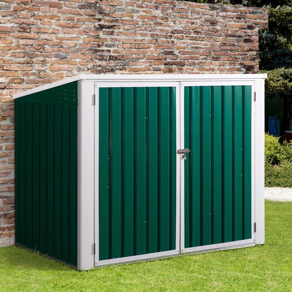 Outsunny Outdoor Steel Wheelie Trash Can Storage Shed Garbage Can Organizer With Double Door & Lid Dustbin Rubbish Cover for 2 Trash Cans Garden | Aosom Canada