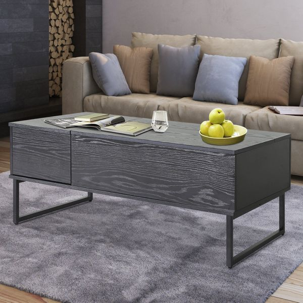 HOMCOM Foldable Wood Lift Top coffee Table Convertible Tea Desk Furniture with 2 Storage drawer Tray Black|Aosom.ca