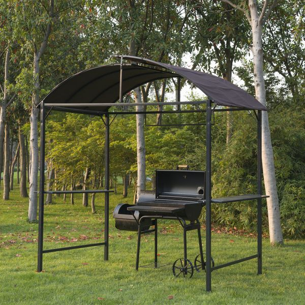 Outsunny BBQ Pergola 8x4ft Barbecue Gazebo Tent Metal Frame Grill Patio Canopy Garden Sunshade Portable Shelter Backyard with Side Shelf Coffee Awning |Aosom Canada