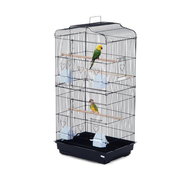 "Pawhut 36"" Bird Cage Macaw Play House Cockatoo Parrot Finch Flight w/ 2 Doors Perch 4 Feeder Pet Supplies Black
