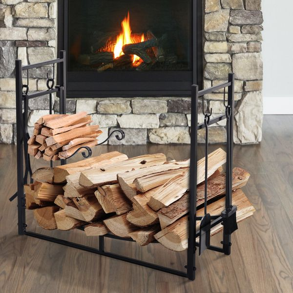 Outsunny Wood Storage Rack Log Holder with Kindling Holder and 4 Tools Indoor Outdoor Metal Black|AOSOM.CA