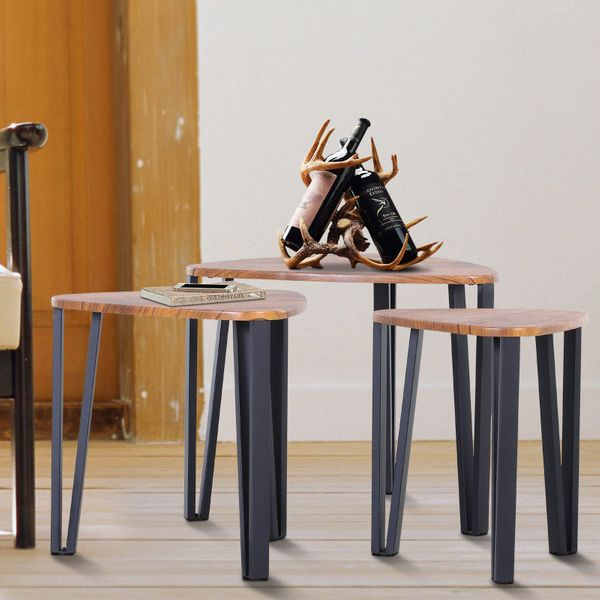 HOMCOM Industrial 3 PCs Stacking Nesting Table Coffee Table Set Walnut Color|Aosom Canada
