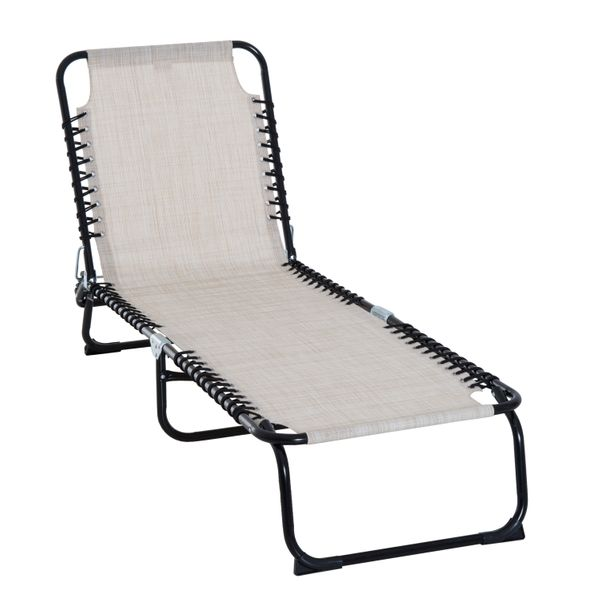 Outsunny Adjustable Folding Beach Bed Portable Cream|AOSOM.CA