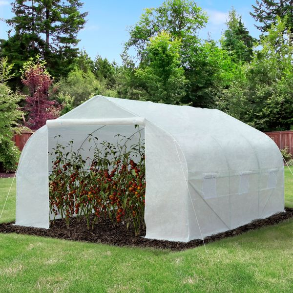 Outsunny 11.5'x10'x7' Walk-in Greenhouse Growing House Ventilation Portable Outdoor PE