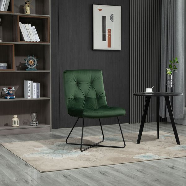 HOMCOM Modern Comfort Style Leisure Accent Chair with X-Shaped Metal Base and Straight Back for Living Room  Dining Room  Office  Green Solid | Aosom Canada