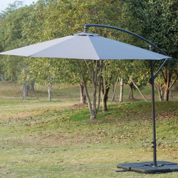 Outsunny 10' Steel Hanging Offset Patio Umbrella with Stand - Grey Banana Parasol | Aosom Canada