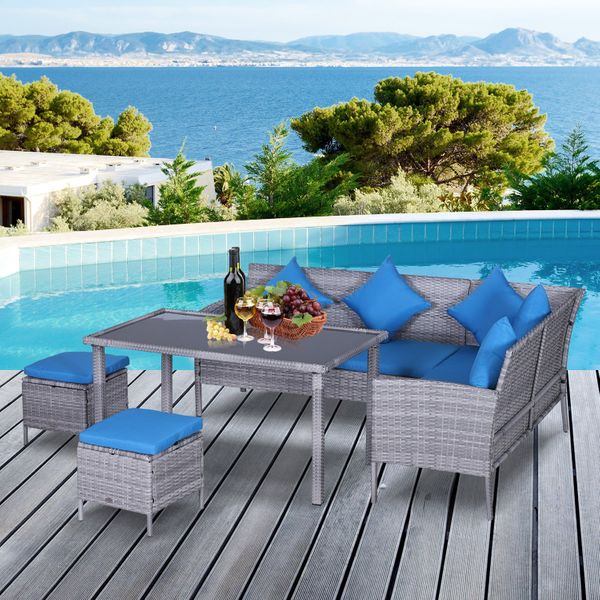 Outsunny 5Pcs Rattan Dining Set Sofa Table Footstool Outdoor w/ Cushion Garden Furniture
