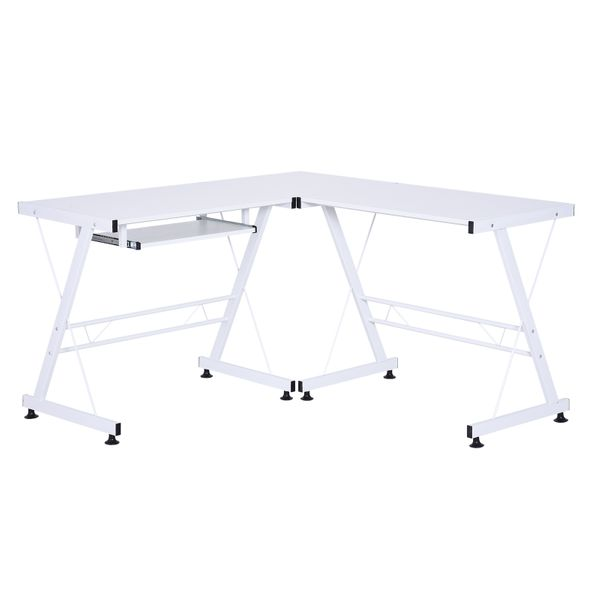 HOMCOM Modern L-Shaped Computer Desk Corner Table Office Workstation w/ CPU Stand Keyboard Tray White|Aosom Canada