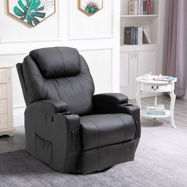 HOMCOM Faux Leather Vibrating Chair with Heat Function with RemoteVibration Muti-function Padded Sofa Chair with Remote Control 360 Degree Swivel Seat with Dual Cup Holders Black | Aosom Canada