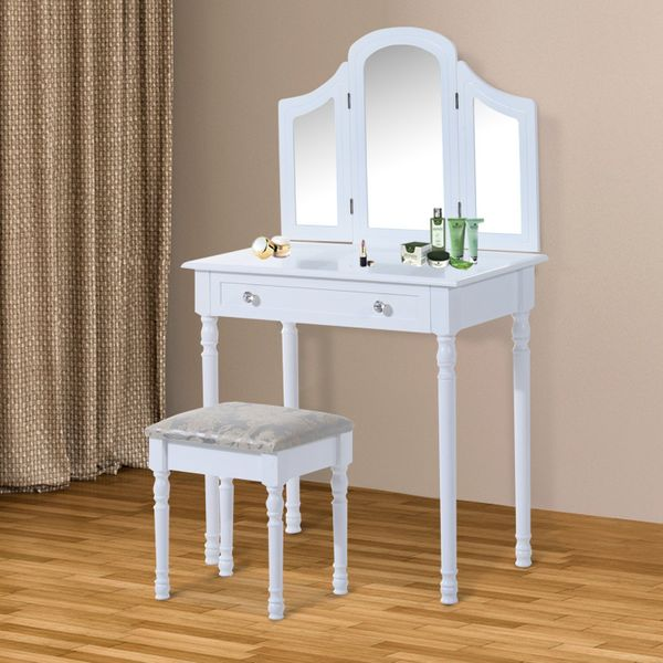 HOMCOM Luxury Wooden Vanity Dressor Set Dressing Table and Stool Make-up Furniture with 3 Mirrors (White)|Aosom Canada