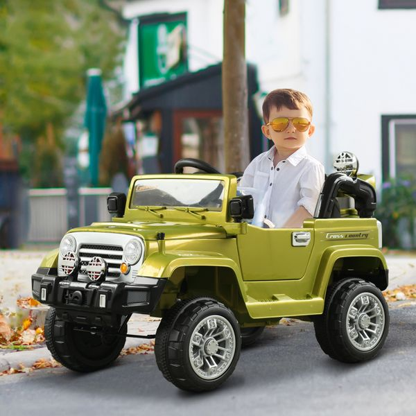 Aosom 12V Kids Electric Ride On Toy Truck Jeep Car with 2 Speed Lights MP3 LCD Indicator and Remote Control Green | Aosom Canada