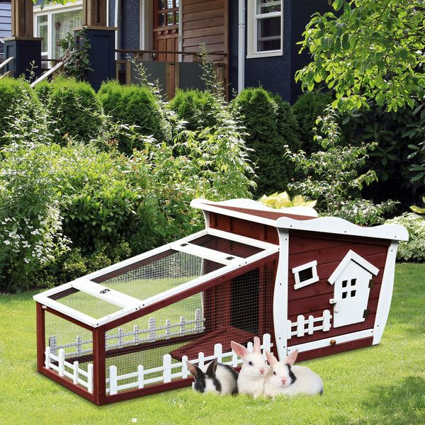 PawHut Wood Rabbit Hutch Backyard Bunny Cage Small Animal House w/ Ramp and Outdoor Run Cottage Pet | Aosom Canada