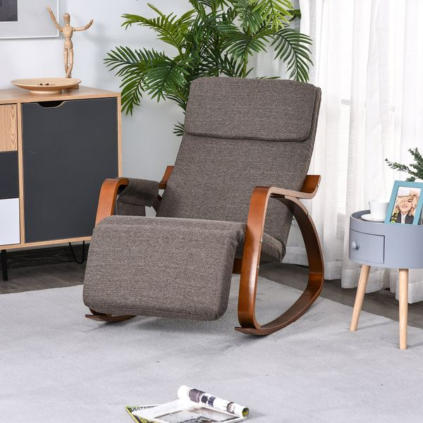 HOMCOM Linen Touch Adjustable Rocking Chair Pad Cushion with Natural Wood frame Living Room Seat with Side Pocket Relax | Aosom Canada