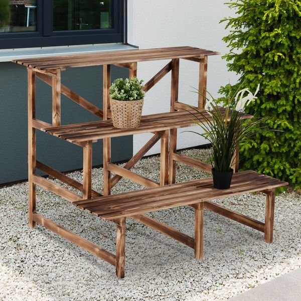 Outsunny 3 Tier Flower Stand Wood Planter Ladder Display Shelf Rack for Garden Outdoor Backyard 100Lx80Wx80H(cm) Plant 3-Tier Holder Patio | Aosom Canada