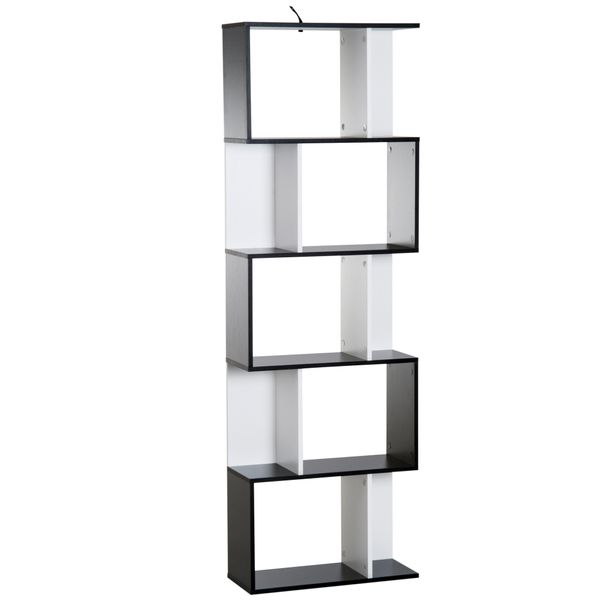 HOMCOM Modern S Shaped Bookcase 5-Tire Display Unit Storage Shelf Room Divider Living Room Home Office Furniture Black/White|Aosom Canada