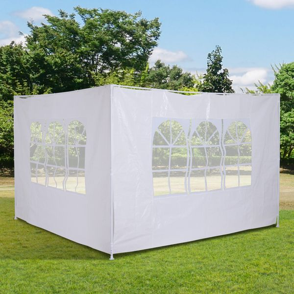 Outsunny 2 Piece 10'x 6.6' Canopy Gazebo Side Panel Sun Wall Tent Side Wall White | Aosom Canada