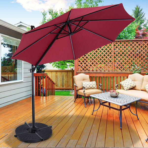 Outsunny Set of 4 Umbrella Base Weights Outdoor Parasol Holder for Cross Base Portable