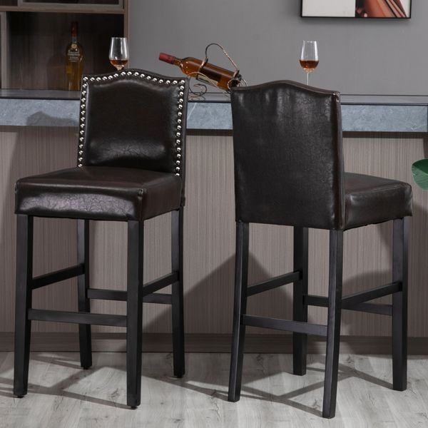 HOMCOM 2 Pieces Retro Style Bar Stools Tall Chair with Back  Footrest for Home Pub