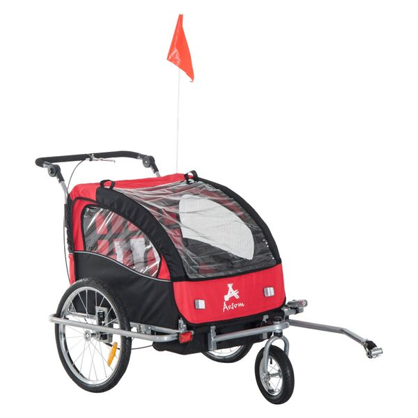 Aosom 2-in-1 Double Child Baby Bike Trailer Stroller & Jogger Folding Bicycle 1-2 Kids Black/Red|Aosom Canada