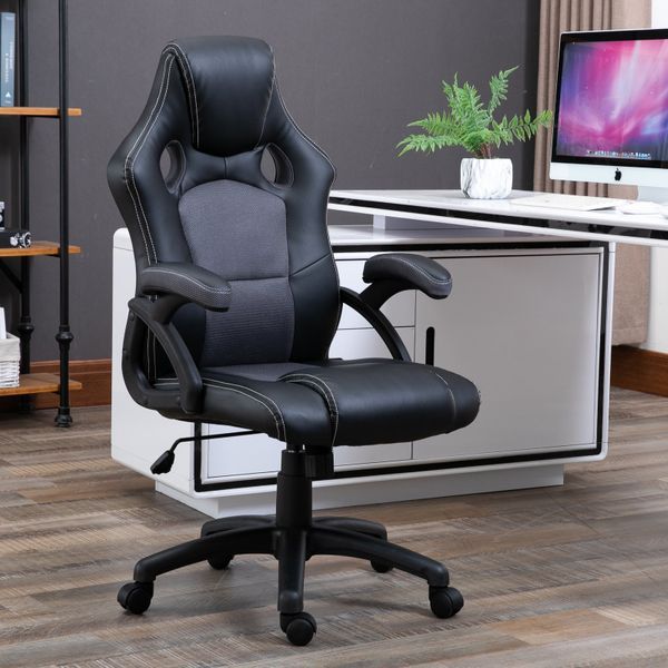 Vinsetto 360° Swivel Racing Chair Adjustable Height PU Leather E-sports Rocker Home Office  Black and Grey|Aosom Canada