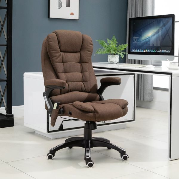 Vinsetto Executive Massage Office Chair Vibrating Ergonomic Computer Chair with High Back, Brown