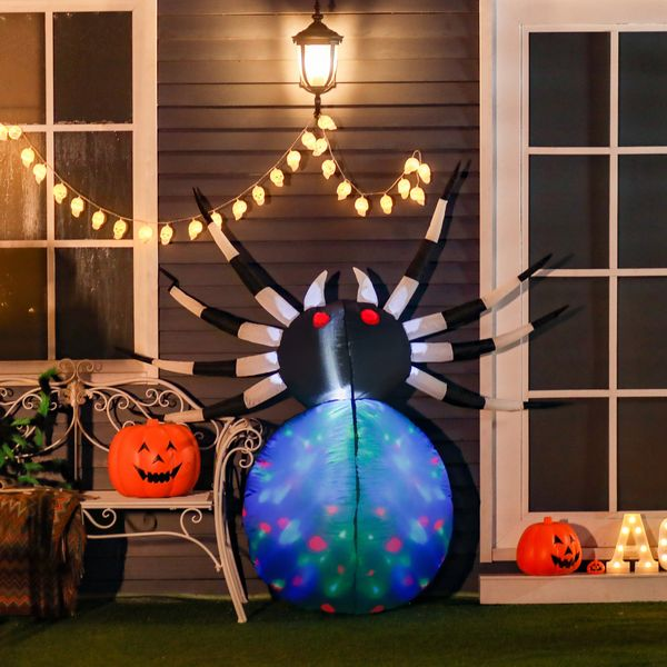 """HOMCOM 47.25"""" Long Outdoor Lighted Airblown Inflatable Halloween Lawn Decoration - Giant Scary Spider"""
