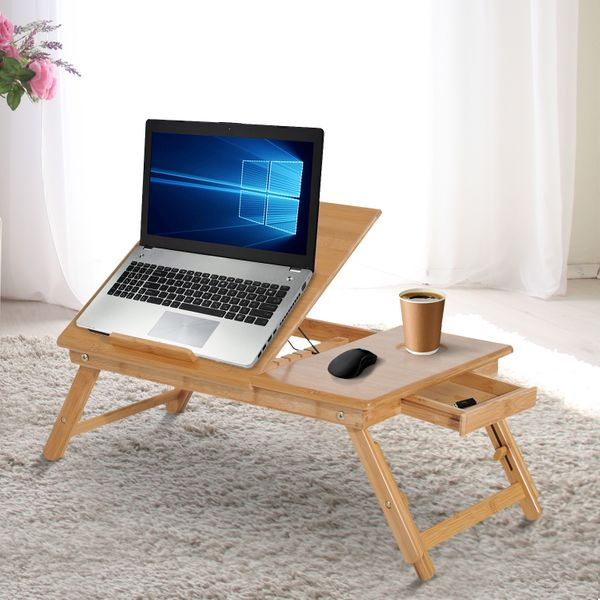 """HOMCOM Foldable Bamboo Wood Laptop Stand Notebook Desk Table with Drawer 21.7"""" Adjustable Cooling Bed and Legs Portable Breakfast Serving Tray Tilt Top Table 