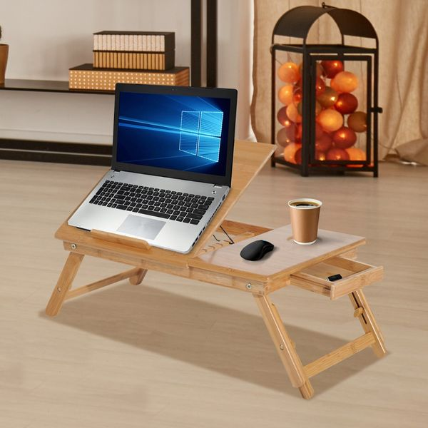 "HOMCOM Portable Desk Foldable Bamboo Wood Laptop Stand Notebook Desk Table with Drawer 21.7"" Adjustable Cooling Bed and Legs Portable Breakfast Serving Tray Tilt Top Table