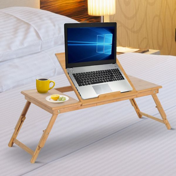 """HOMCOM Bed Tray Table Adjustable Bamboo Laptop Tray Desk Notebook Table with Side Drawer and Foldable Legs 28"""" Portable Breakfast Serving Bed Tilt Top 
