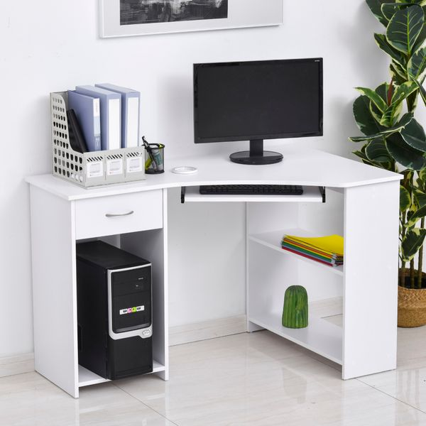 HOMCOM L-Shaped Corner Computer Desk with 2 Shelves Keyboard Tray Drawer CPU Stand Home Office Study Writing Table White w/ Wide Worktop   Aosom Canada