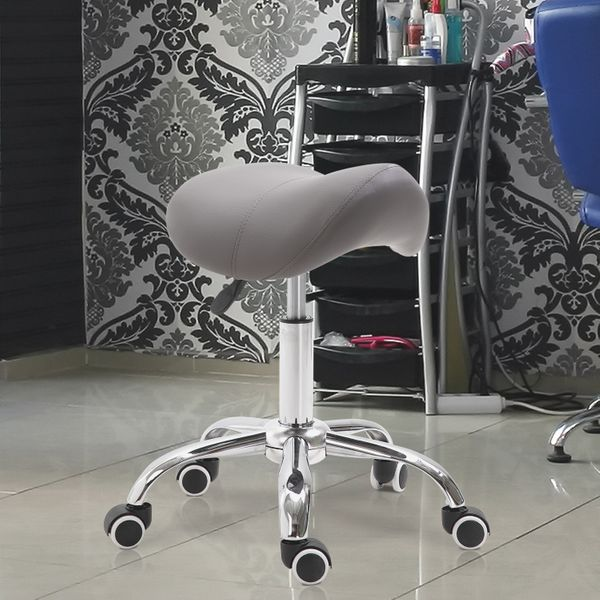 HOMCOM Saddle Stool Adjustable Hydraulic Rolling Salon Chair PU Leather Swivel Spa Tattoo Beauty Seat Gray | Aosom Canada