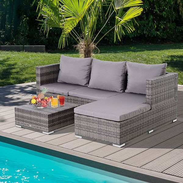 Outsunny 3 Piece Adjustable Seat Rattan Wicker Sofa Steel Frame Furniture Set Sleeping Couch Bed Lounge Grey