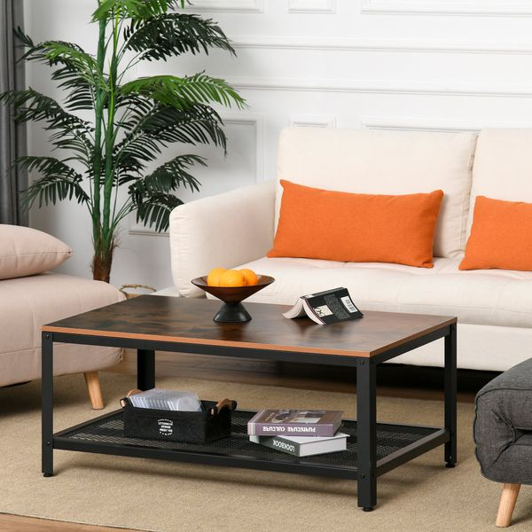 HOMCOM 2 Tier Rectangular Coffee Table Retro Industrial Style Wood Side Table with Storage Organizer Living Room