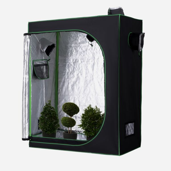 """Outsunny Hydroponic Plant Grow Tent 59""""*47"""" Reflective Mylar Obeservation Window Indoor Floor Tray