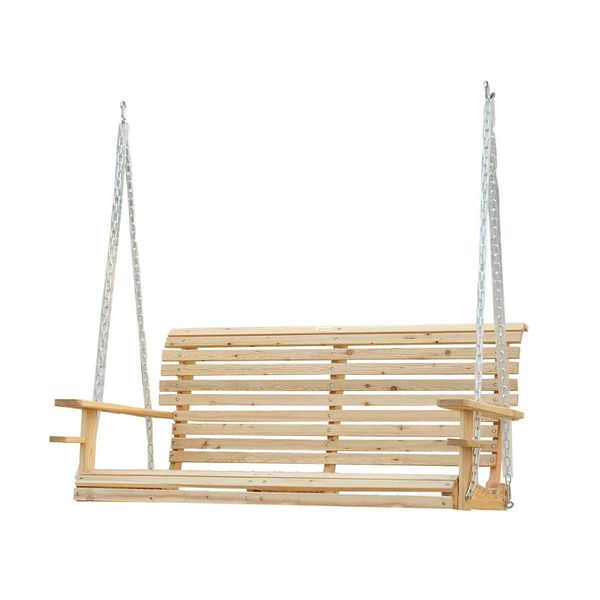 Outsunny 5 ft Wooden Porch Swing Chair Seat with Chain Natural FSC certificated Wood (No Frame) | Aosom Canada