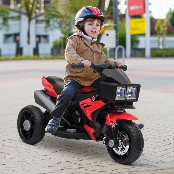 Aosom Kid Ride On Electric Motorcycle Toy 6V Battery Powered Kids Car Power Wheels Motorcycle W/ Music Horn Headlights Motorbike For 3 - 8 Years Old Red | Aosom Canada