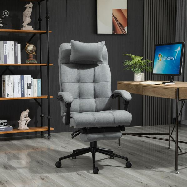 Vinsetto Executive Linen-Feel Fabric Office Chair High Back Swivel Task Chair with Upholstered Retractable Footrest, Headrest and Padded Armrest, Light Grey Reclining Rolling Footrest | Aosom Canada