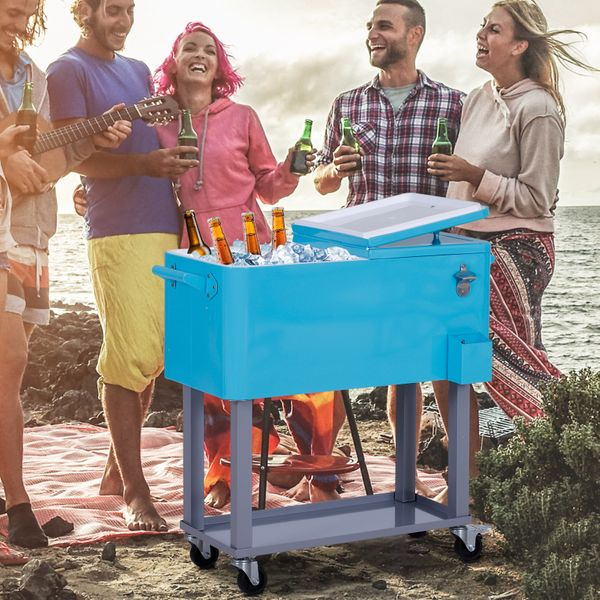 Outsunny 80 Quart Rolling Cooler Cart with Bottle Opener  Catch Tray  and Drain Plug 80QT Portable Ice Chest Outdoor Patio Party Steel|Aosom Canada