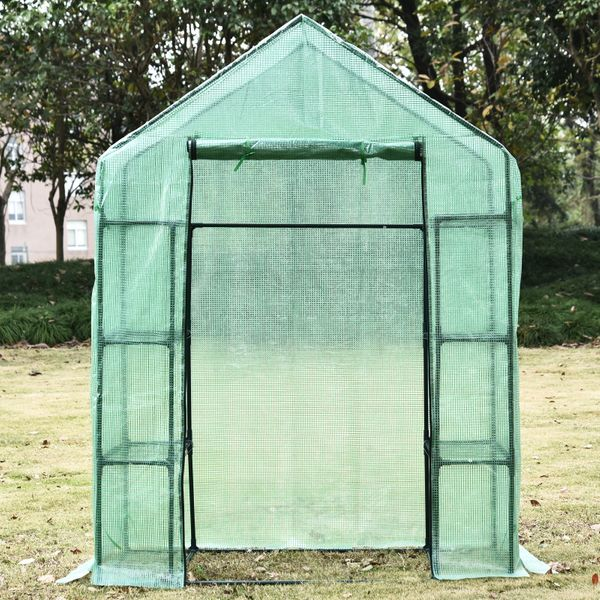 Outsunny Portable 4-Tier Warm Pop up Plants and Flower Greenhouse with Shelves, Green 56x30x78-Inch 4 Tier | Aosom Canada
