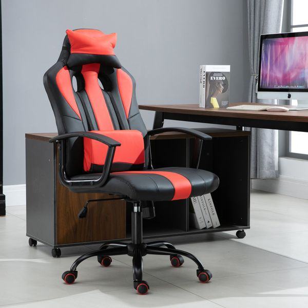 Vinsetto High Back Racing Style PU Leather Gaming Chair Lumbar Support Red|Aosom Canada