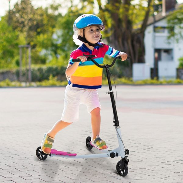 Qaba 3 Wheels Swing Scooter Kids Teenager Scooter Height Adjustable for Age 8+, Pink