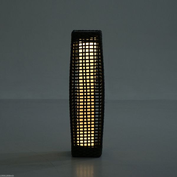 Outsunny Solar Powered LED Lamp Rattan Wicker Standing Floor Light Outdoor Garden Decking Décor Coffee | Aosom Canada