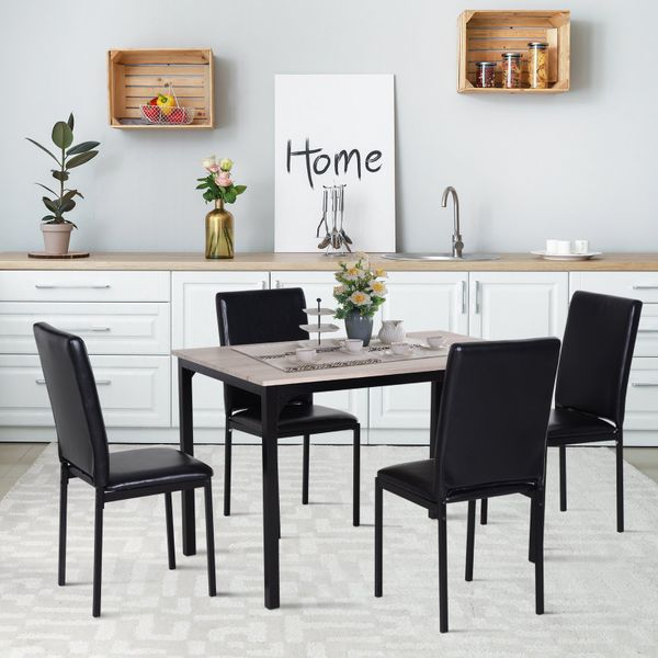 HOMCOM 5pcs Dining Set Wood Table Top and PU Padded Seat Kitchen Table Set for 4 Chairs Modern and Sleek Dinette Home Furniture | Aosom Canada