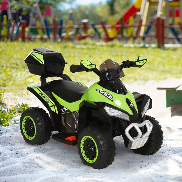 Aosom Kids Electric ATV Motorcycle Bench Buggy Quad Ride-on Car 6V Battery Powered for 18-36 Months Old with Light MP3 Storage Box | Aosom Canada