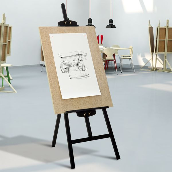 """HOMCOM 55"""" Beech Wood Adjustable Folding Art Easel Stand that Tilts up to 90° Degrees with Sturdy Material Black 55""""H Display 