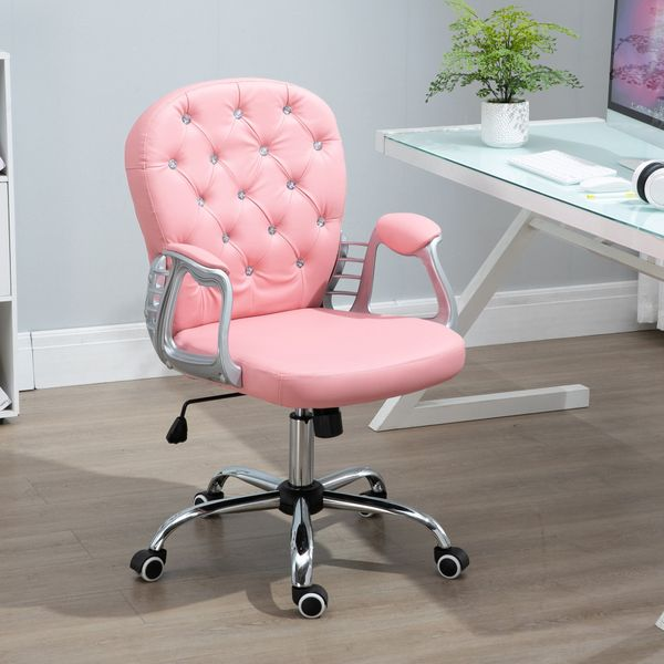 Vinsetto Vanity Office Chair Tufted Backrest Swivel Rolling with Height Adjustable