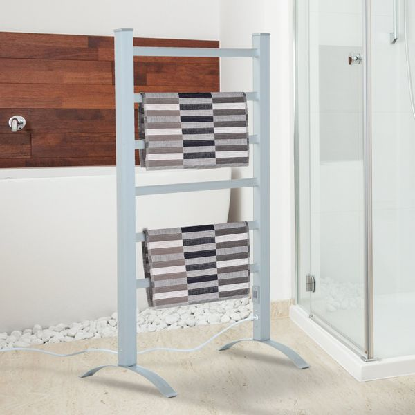HOMCOM 6-Bar Aluminum Freestanding Electric Towel Warmer Stainless Steel|Aosom Canada