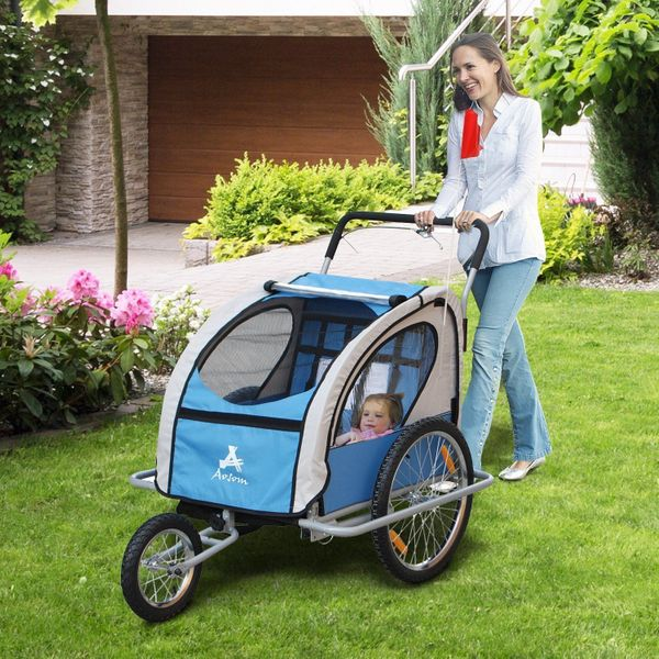 Aosom Bike Trailer Baby 2 in 1 Stroller Double Child Seat Folding Jogger Cycling Hitch Blue/White|Aosom Canada