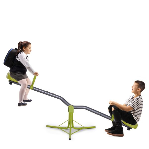 HOMCOM Kids Spinning Seesaw Swivel Teeter Totter Playground Equipment 360° Rotation Child Seesaw Rocker Swing Green & Grey|Aosom Canada
